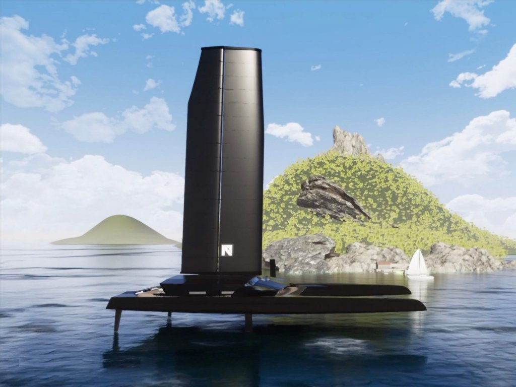 This 223-foot hydrofoil concept yacht and is powered by autonomous sails, solar and has zero emissions  —see inside Nemesis One